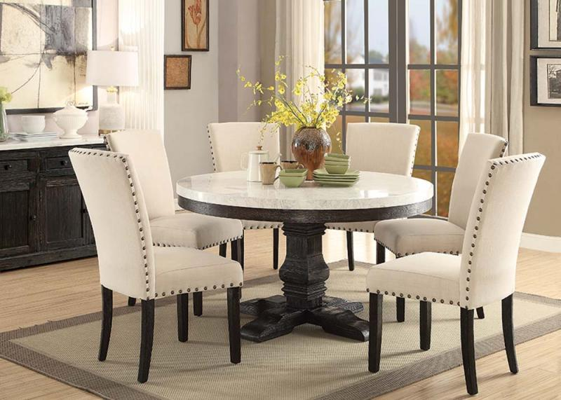 Nolan Round White Marble Top Dining Set