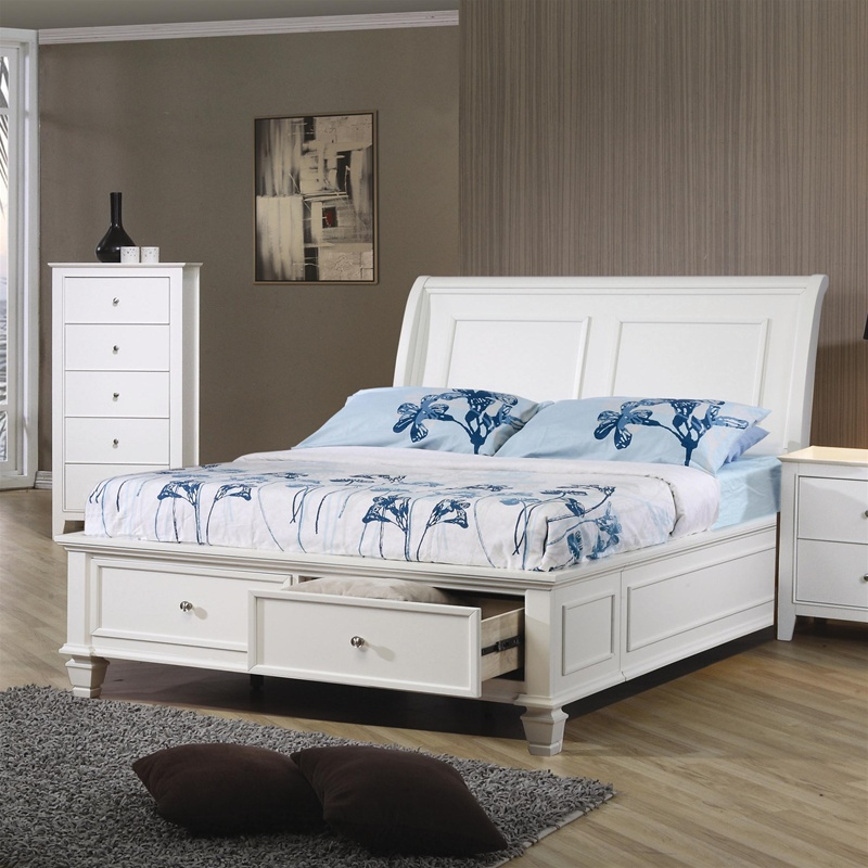White Platform Bed with Storage Drawers
