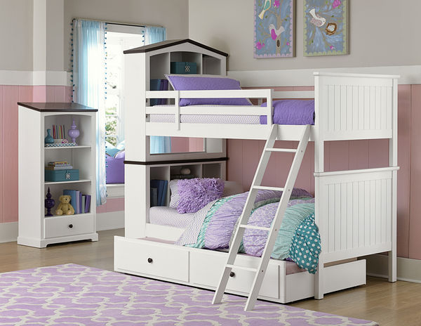 White Bunk Bed with Bookcase