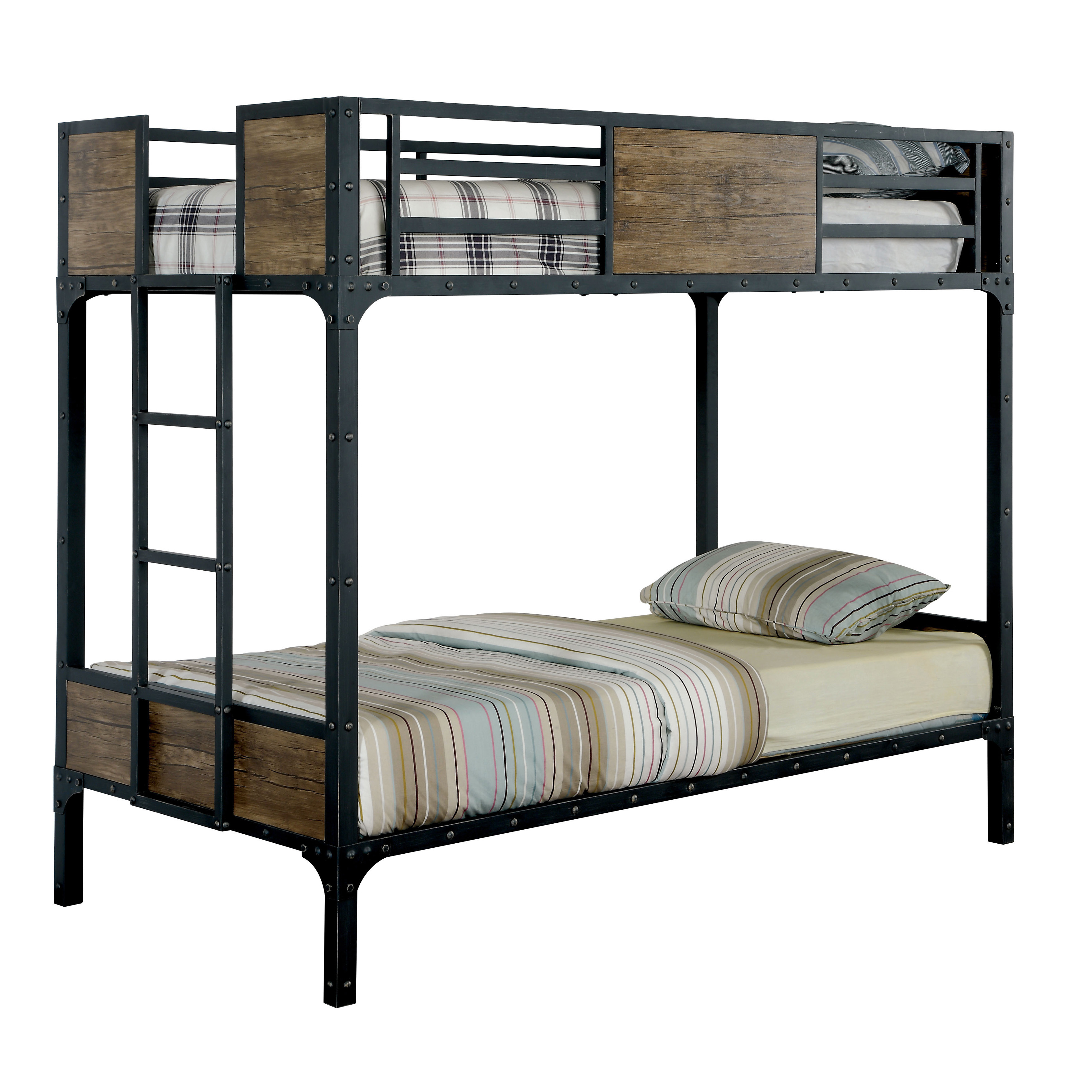 Industrial Inspired Twin Metal Bunk Bed